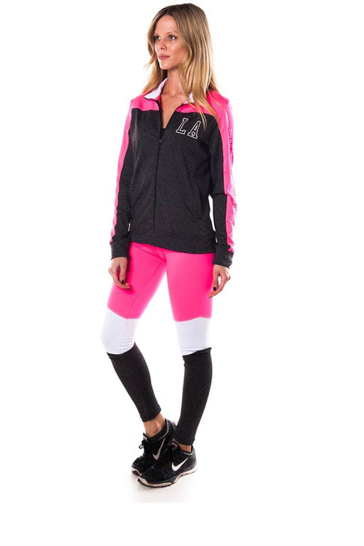 Ladies fashion plus size los angeles logo active 2 pcs set outfit