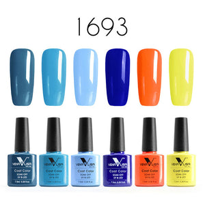 Venalisa™ 6pcs 7.5ml Soak Off LED UV Colorful Nail Gel Polish Set