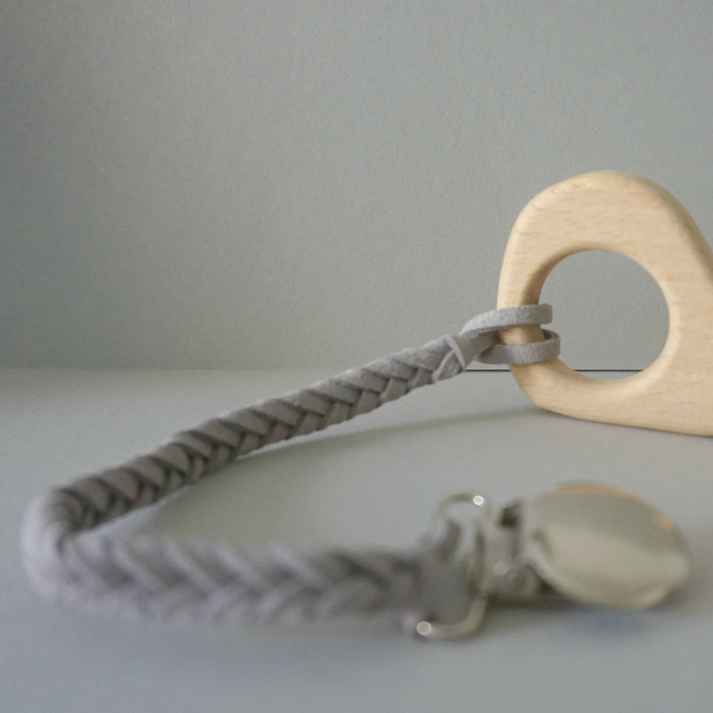 Braided Pacifier Strap - Grey
