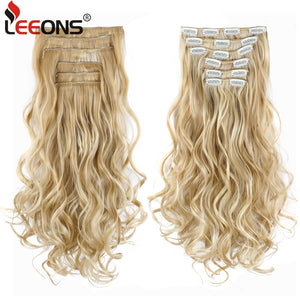 Leeons 22 Inch High Temperature Fiber Curly Synthetic 16 Clips In Hair Extensions For Women Hairpieces Ombre Brown Hair pieces - Products & Products Store