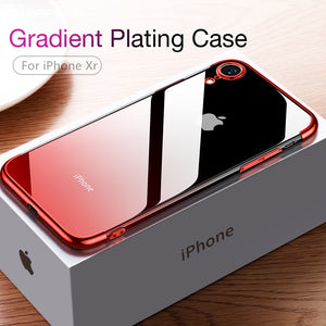 CAFELE Gradient Plating Case for iPhone Xr XS XS Max Cover Transparent Silicone Cover Luxury Aurora Soft TPU Phone Case - Products & Products Store