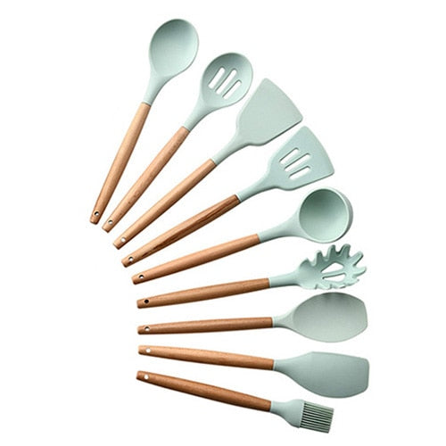 9/10/12pcs Cooking Tools Set Premium Silicone Kitchen Cooking Utensils Set With Storage Box Turner Tongs Spatula Soup Spoon - Products & Products Store