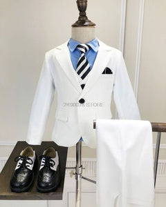 Flower Boys Formal Anzug Suit Kids Wedding Birthday Party Dress Blazer Vest Pants 3pcs Child Tuxedo Prom Performance Costume N40 - Products & Products Store