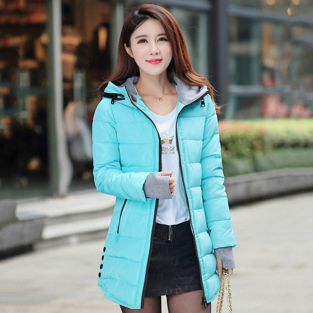 2019 women winter hooded warm coat plus size candy color cotton padded jacket female long parka womens wadded jaqueta feminina - Products & Products Store