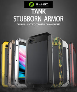 Heavy Duty Protection Doom armor Metal Aluminum phone Case for iPhone 6 6S 7 8 Plus X 4 4S 5S SE 5C Shockproof Dustproof Cover - Products & Products Store