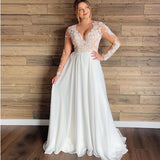 Plus Size Wedding Dresses 2019 V Neck Lace Appliques Long Sleeve Illusion Back Wedding Dress Sexy Women Bridal Gown - Products & Products Store