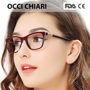 OCCI CHIARI Vintage Myopia Glasses Women Anti Blue Ray Computer Eyewear Diamond Spring Hinge Optical Spectacles Frame With Case - Products & Products Store