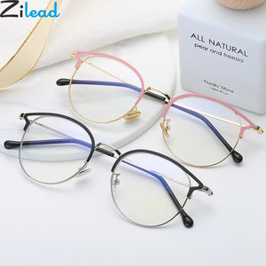 Zilead Anti Blue Light Round Cat Eyes Eyeglasse Frame Women & Men Computer Eye protection Eyewear Optical Spectacle Glasses Unisex - Products & Products Store