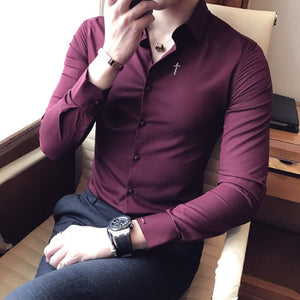 Spring new long-sleeved shirt fashion trend Korean Slim men casual shirt youth British embroidery youth shirt - Products & Products Store