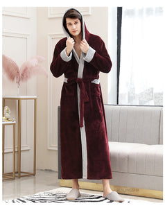 Women Winter Super Long Warm Flannel Bathrobe Plus Size Lovers Fur Pink Bath Robe Bride Soft Night Dressing Gown Men Sleepwear - Products & Products Store