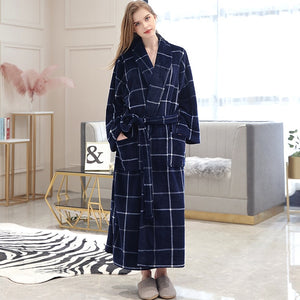 Men Winter Plaid Plus Size Long Coral Fleece Bathrobe 40-130KG Warm Flannel Bath Robe Kimono Robes Dressing Gown Night Sleepwear - Products & Products Store
