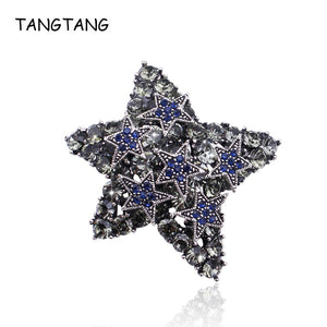 Full Rhinestone Stars Antique Silver Brooches Vintage Blue Star Lucky Brooch Pins Costume Jewelry For Women And Men Coat Clips - Products & Products Store