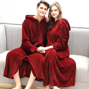 Women Winter Plus Size Long Warm Flannel Bathrobe Bride Cozy Hooded Bath Robe Pregnant Zipper Night Dressing Gown Men Sleepwear - Products & Products Store