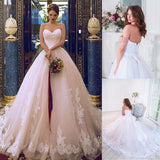 Elegant Tulle Sweetehart Neckline Ball Gown Bridal Dresses With Lace Appliques & Beadings & Belt Wedding Gowns - Products & Products Store