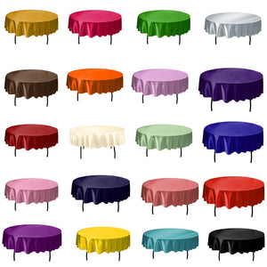 1pcs 145cm Round Satin Tablecloth Table Cover Solid Color Table Cloth For Christmas Birthday Wedding Party Hotel Decoration - Products & Products Store