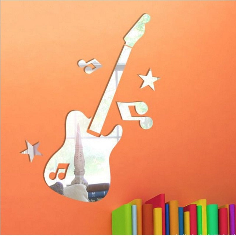 Mirror Removable Guitar with Music Symbols Decal Art Mural Wall mirror Sticker Decor - Products & Products Store