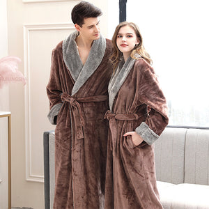 Women Winter Plus Size Long Flannel Bathrobe Kimono Warm Pink Bath Robe Night Fur Robes Bridesmaid Dressing Gown Men Sleepwear - Products & Products Store