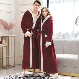 Men Winter Plus Size Long Cozy Flannel Bathrobe Kimono Warm Coral Fleece Bath Robe Night Fur Robes Dressing Gown Women Sleepwear - Products & Products Store