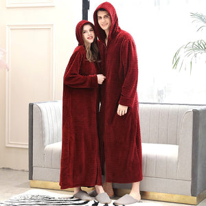 Men Winter Plus Size Long Warm Coral Fleece Bathrobe Hooded Cozy Flannel Bath Robe Zipper Night Dressing Gown Women Sleepwear - Products & Products Store