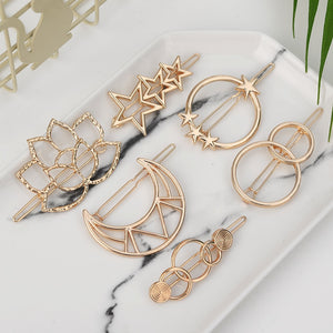Fashion Woman Hair Accessories Triangle Hair Clip Pin Metal Geometric Alloy Hairband Moon Circle Hairgrip Barrette Girls Holder - Products & Products Store