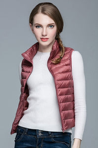 Women 90% White Duck Down Vest Women's Ultra Light Duck Down Vest Jacket Autumn Winter Sleeveless Coat - Products & Products Store