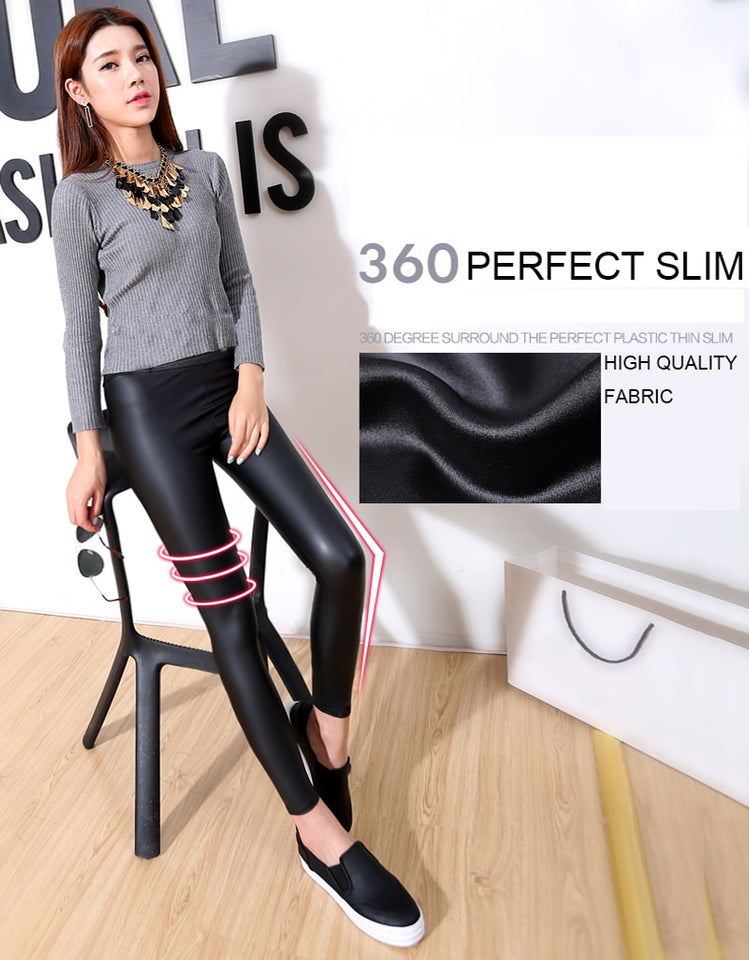 S-3XL New Autumn  Fashion Faux Leather Sexy Thin Black Leggings Calzas Mujer Leggins Leggings Stretchy Plus Size 4XL 5XL - Products & Products Store
