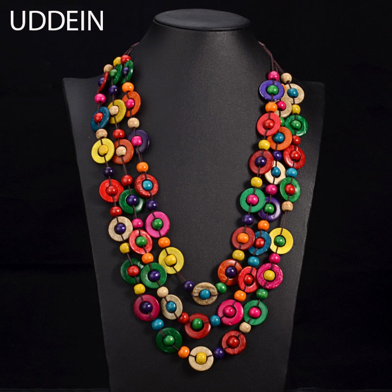 UDDEIN Bohemia Ethnic Necklace & Pendant Multi Layer Beads Jewelry Vintage Statement Long Necklace Women Handmade Wood Jewelry - Products & Products Store