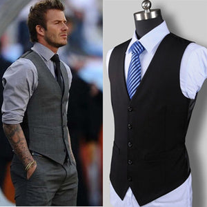 New Wedding Dress High-quality Goods Cotton Men's Fashion Design Suit Vest / Grey Black High-end Men's Business Casual Suit Vest - Products & Products Store