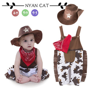Baby boy romper costume infant toddler cowboy clothing set 3pcs hat+scarf+romper halloween purim event birthday outfits - Products & Products Store
