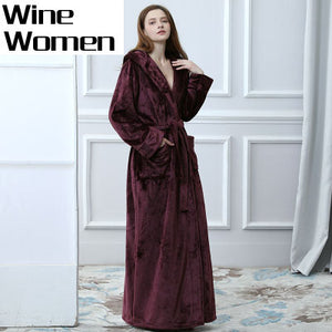 Lovers Thermal Hooded extra Long Flannel Bathrobe Women Men Thick Warm Winter Kimono Bath Robe Bridesmaid Robes Dressing Gown - Products & Products Store