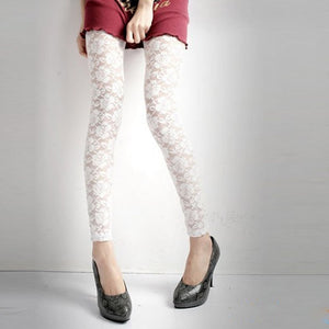 Fashion Lace Leggings Sexy Women Skinny Leggings Soft Floral Rose Printed Stretchy Jeggings Slim Pencil Pants - Products & Products Store