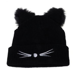 Hot Sale Cat Ears Women Hat Knitted Acrylic Warm Winter Beanie Caps Crochet Fur - Products & Products Store