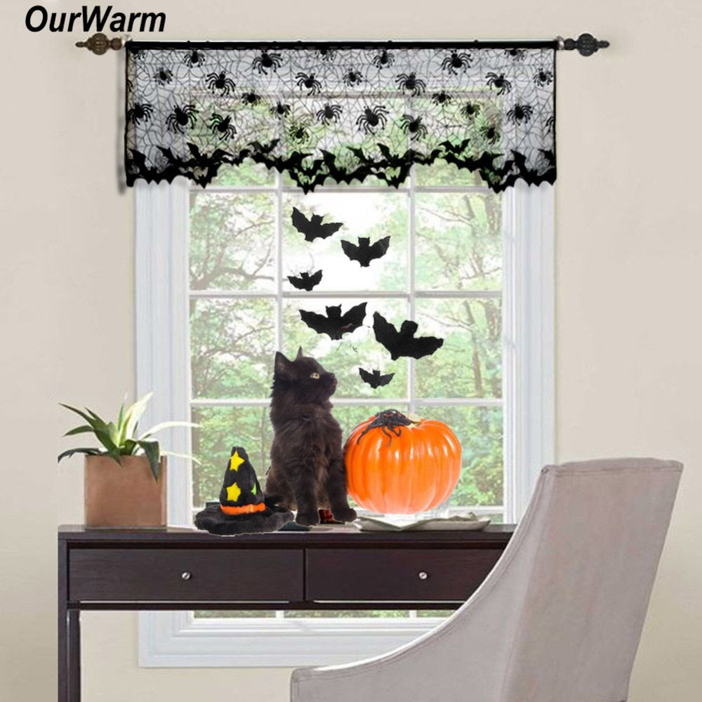 Ourwarm Halloween Curtains Black Lace Bat Spiderweb Window Curtain for Living Room Halloween Decoration Party Supplies 60*20inch - Products & Products Store