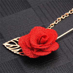H:HYDE Men & Women 3D Rose Flower Brooch for Suits Winter Coat Collar Gold Leaf Tassel Brooch Pin of Wedding Chain Jewelry - Products & Products Store