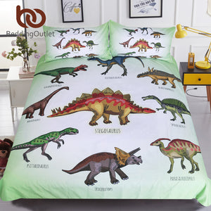 Dinosaur Family Bedding Set for Kids Cartoon Bed Cover Single Boys Duvet Cover Set Jurassic Printed Bedclothes - Products & Products Store