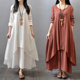Big Size Maxi Dresses Women False Two-piece Long Sleeve Cotton Linen Dress Casual White Boho Oversized Summer Dress 4XL 5XL - Products & Products Store