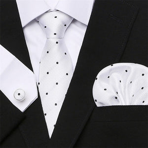 d1f119e72129 Men`s Tie 100% Silk Red Plaid print Jacquard Woven Tie + Hanky + Cuff links  Sets For Formal Wedding Business Party