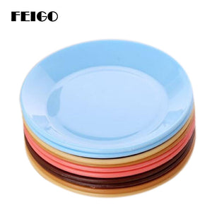 FEIGO 1Pc Dinner Plates Colorful Tableware Fruit Saucer Food-grade Plastic Plates Snack Dish Kitchen Supplies Dishes Plates F511 - Products & Products Store