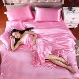 HOT! 100% pure satin silk bedding set  King size bed set bedclothes duvet cover flat sheet pillowcases - Products & Products Store