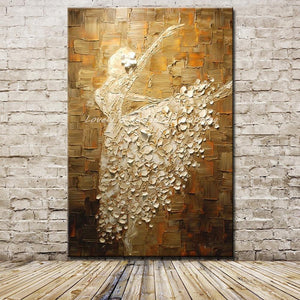 Ballet Dancer Picture Hand Painted Modern Abstract Palette Knife Oil Painting On Canvas Wall Art For Living Room Home Decoration - Products & Products Store