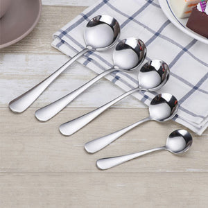 1pcs Stainless Steel Round Spoon Stir Spoon Coffee Spoon Ice Cream Honey Dessert Tea Spoon five sizes optional - Products & Products Store