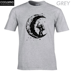 100% cotton digging the moon print casual men's o-neck t shirts fashion men's tops men T-shirt short sleeve men T-shirt - Products & Products Store