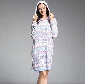 Winter nightgown flannel warm thick home night gowns with hat dressing gown for women - Products & Products Store