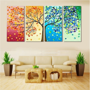 Canvas painting poster Colourful Leaf Trees 4 Piece painting Wall Art Modular pictures for Home Decor wall art picture painting - Products & Products Store