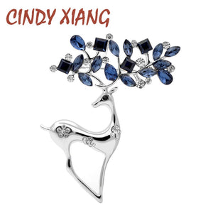 CINDY XIANG 2 Colors Available Rhinestone Deer Brooches for Women Christmas Reindeer Pins Luxury Coat Corsage Fashion Jewelry - Products & Products Store