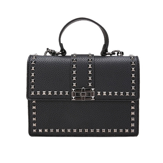 Women Bags Luxury Handbags Women Messenger Bags Cover Rivet Bag Girls Fashion Shoulder Bag Ladies PU Leather Handbags - Products & Products Store