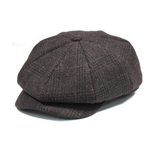 New Brand Quality Wool Plaid Beret Hats For Men Caps Autumn Winter Dad Newsboy Hat - Products & Products Store