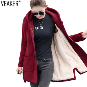 Autumn Winter Women Fleece Jacket Coats Female Long Hooded Coats Outerwear Warm Thick Female Red Slim Fit Hoodies Jackets - Products & Products Store