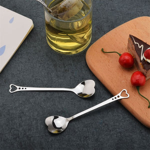 Stainless Steel Spoon Portable Metal Coffee Teaspoon Creative Love Heart Shaped Wedding Party Gift Dinnerware - Products & Products Store