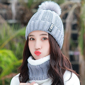 Neck warm Balaclava knitted winter hat Big Fur pom poms ball Knitted hats scarf set women Beanie Hat thick Skullies female cap - Products & Products Store